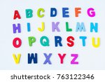 colorful wooden  alphabet on... | Shutterstock . vector #763122346
