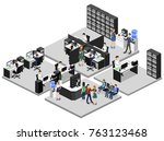 isometric 3d illustration set... | Shutterstock .eps vector #763123468