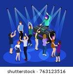 isometric 3d vector dj party on ... | Shutterstock .eps vector #763123516