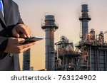 gas turbine power plant and... | Shutterstock . vector #763124902