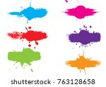 abstract vector splatter label... | Shutterstock .eps vector #763128658