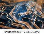3d rendering. circuit board... | Shutterstock . vector #763130392