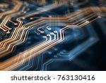 3d rendering. circuit board... | Shutterstock . vector #763130416