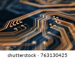 3d rendering. circuit board... | Shutterstock . vector #763130425