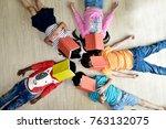 children  having fun on... | Shutterstock . vector #763132075