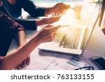 business  corporate  desk ... | Shutterstock . vector #763133155