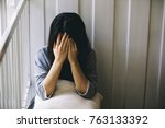 unhappy lonely depressed woman  ... | Shutterstock . vector #763133392