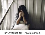unhappy lonely depressed woman  ... | Shutterstock . vector #763133416