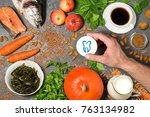 food products useful for teeth. ... | Shutterstock . vector #763134982