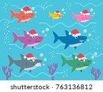 vector stock of shark family... | Shutterstock .eps vector #763136812