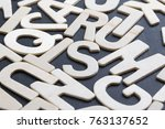 close up wooden alphabet study... | Shutterstock . vector #763137652