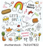 set of colorful doodle on paper ... | Shutterstock .eps vector #763147822