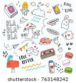 set of colorful doodle on paper ... | Shutterstock .eps vector #763148242