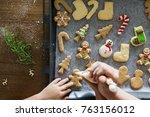 gingerbread cookies getting... | Shutterstock . vector #763156012