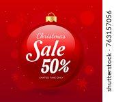 christmas sale vector... | Shutterstock .eps vector #763157056