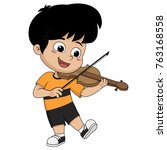 kid playing sviolin.vector and... | Shutterstock .eps vector #763168558