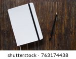 white cover notebook with black ... | Shutterstock . vector #763174438