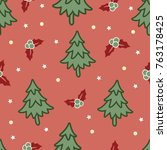 christmas tree pattern in red... | Shutterstock .eps vector #763178425