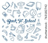 back to school doodle  line art ... | Shutterstock .eps vector #763182742
