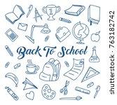 back to school doodle  line art ...   Shutterstock .eps vector #763182742