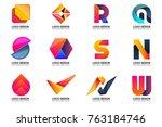 modern minimal vector logo for... | Shutterstock .eps vector #763184746
