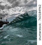 shorebreak waves crashing onto...   Shutterstock . vector #763184962