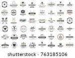 restaurant retro vector logo... | Shutterstock .eps vector #763185106