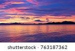 majestic tropical sunset  coron ... | Shutterstock . vector #763187362