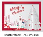 merry christmas card concept... | Shutterstock .eps vector #763193158