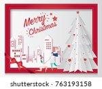merry christmas card concept... | Shutterstock .eps vector #763193158