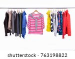 mix color row of female coat ... | Shutterstock . vector #763198822