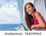 cruise ship summer vacation.... | Shutterstock . vector #763199962