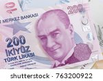 Small photo of Turkish, Two Hundred Lira banknote front, close-up detail