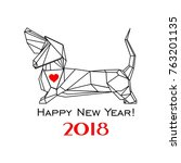 2018 happy new year greeting... | Shutterstock .eps vector #763201135