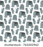 seamless pattern of hats ... | Shutterstock .eps vector #763202962