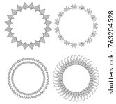 set of round doodle frames with ... | Shutterstock .eps vector #763204528