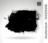 black brush stroke and texture. ... | Shutterstock .eps vector #763205608