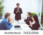 business people clapping around ... | Shutterstock . vector #763213066