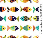 cute fish.  kids background. | Shutterstock .eps vector #763215022