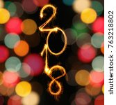 2018 vertical text align... | Shutterstock . vector #763218802