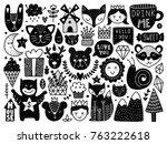 scandinavian kids doodles... | Shutterstock .eps vector #763222618