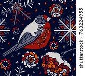 winter bird and snowlakes....   Shutterstock .eps vector #763224955