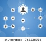 background style block chain... | Shutterstock .eps vector #763225096