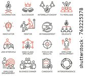 vector set of linear icons... | Shutterstock .eps vector #763225378