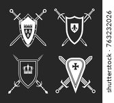medieval swords and shields.... | Shutterstock .eps vector #763232026