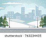 cityscape of a big metropolis....   Shutterstock .eps vector #763234435