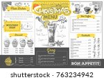 vintage holiday christmas menu... | Shutterstock .eps vector #763234942