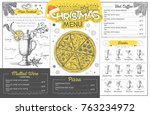 vintage holiday christmas menu... | Shutterstock .eps vector #763234972