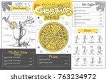 vintage holiday christmas menu... | Shutterstock .eps vector #763234972