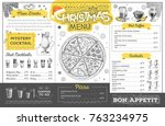vintage christmas menu design.... | Shutterstock .eps vector #763234975